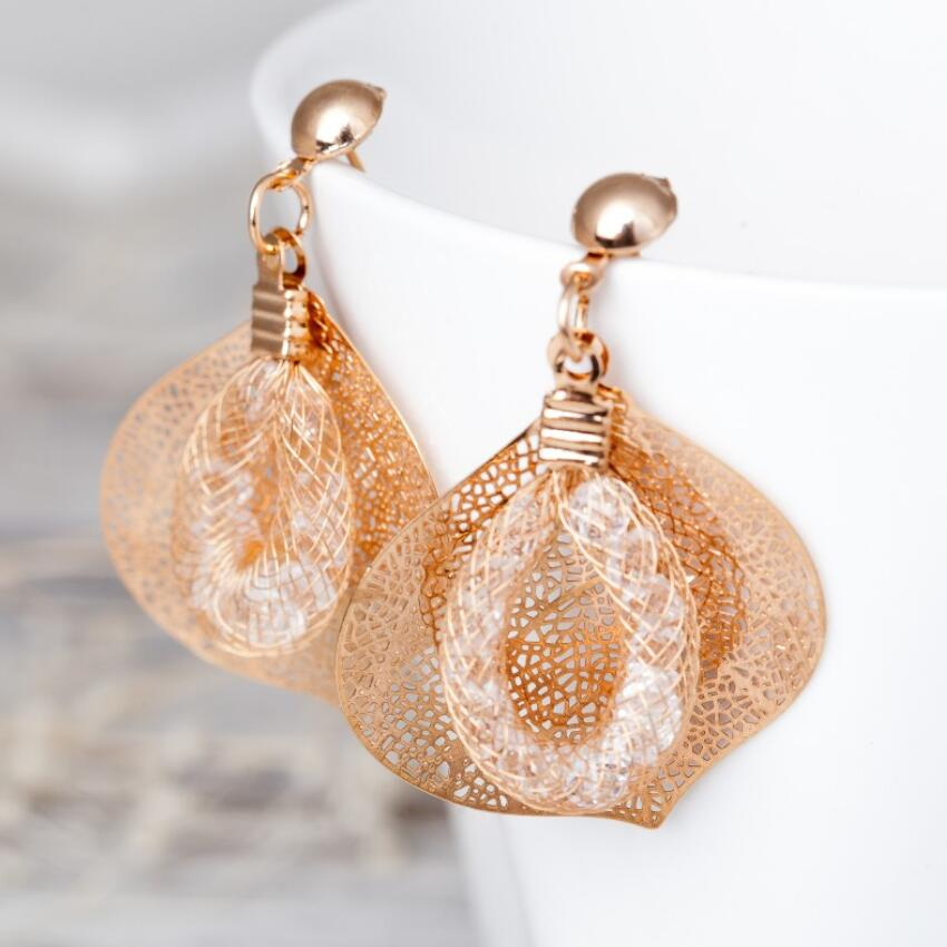 Arrival fashion handmade earrings Gold color Leaves Bohemia Leaf crystal Stud Earring women ...