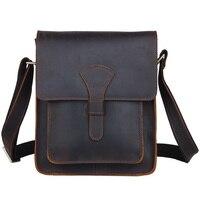 TIDING Men Leather Cross Body Messenger Bag Dark Brown Vintage Style Bag For IPad Crazy Horse