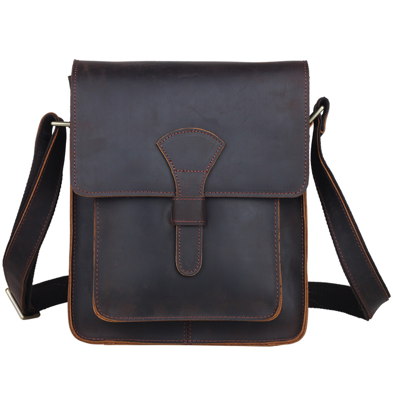 TIDING Men leather cross body messenger bag dark brown vintage style bag for iPad crazy horse leather small bag 1112
