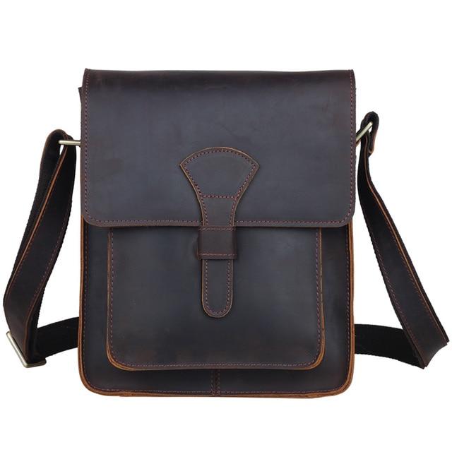 30a91af961ba TIDING Men leather cross body messenger bag dark brown vintage style bag  for iPad crazy horse leather small bag 1112