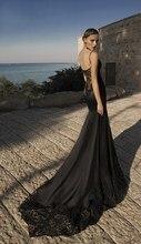 Gothic Sexy Mermaid Black Wedding Dress Lace Spaghetti Straps Bridal Gown Bride vestido de noiva sereia casamento