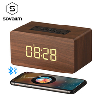 Sovawin Wooden Wireless Speaker Bluetooth Digital Alarm Clock HIFI Portable Handfree Speaker With Microphone Support TF Card MP3