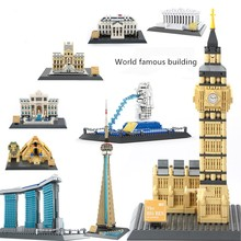 New World famous architectural Streetview Creator Architecture fit city Building Blocks Bricks Toys For Children  gift