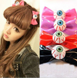 Hot Bloodshot Eyeball Hair Clip Barrette Eye Bow Hallowmas Gifts Harajuku Leather Hair Bow for Cosplay Hip Hop Jewelry HJ108