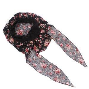 Image 4 - イスラム教徒の女性弾性プリントコットンターバン帽子スカーフ事前縛らがん化学ビーニー帽子ヘッドラップメッキヘアアクセサリー
