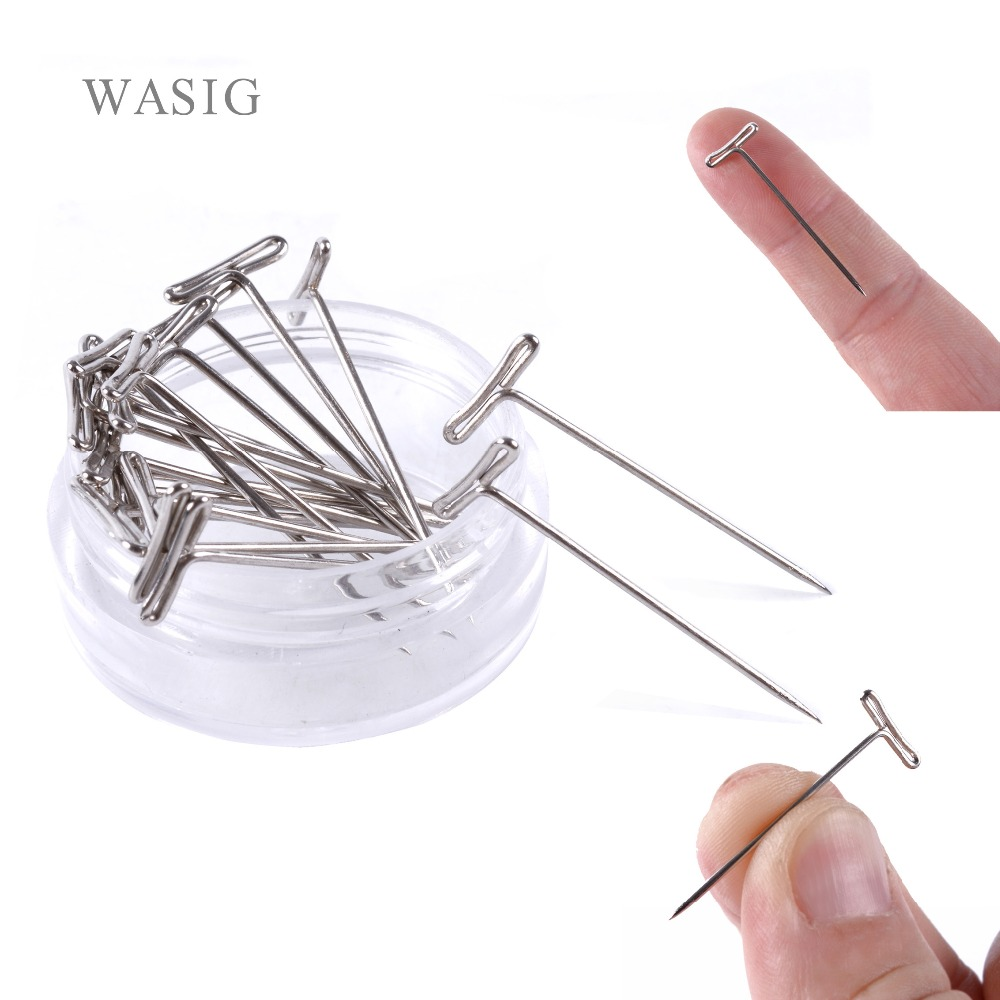 24pcs T-PINS (32mm) For Wig On Foam Head Style T Pin Needle Brazilian Indian Mannequin Head Type Sewing Hair Salon