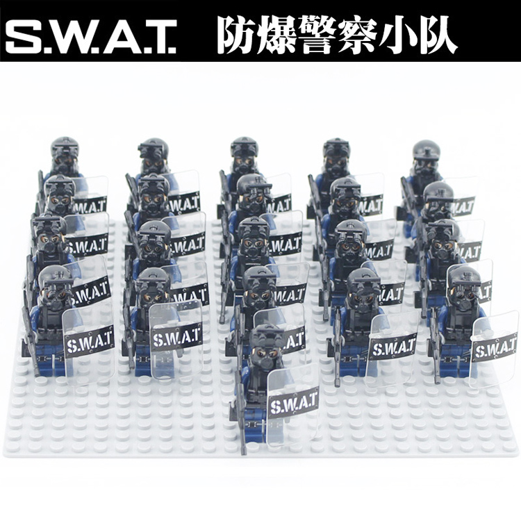 50pcs Modern SWAT Figures Police with Shield Weapon Bricks building blocks set Model Toys for Children