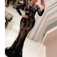 Black Applique Arabic Evening Dress 2017 New Arrival Meramid Long Prom Dresses Long Sleeve Illusion Neckline