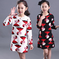 New Arrival 2016 Spring Autumn Kids Girl Long Sleeve O-neck Dress Children Cartoon Beauty Straight Dress Baby Clothing