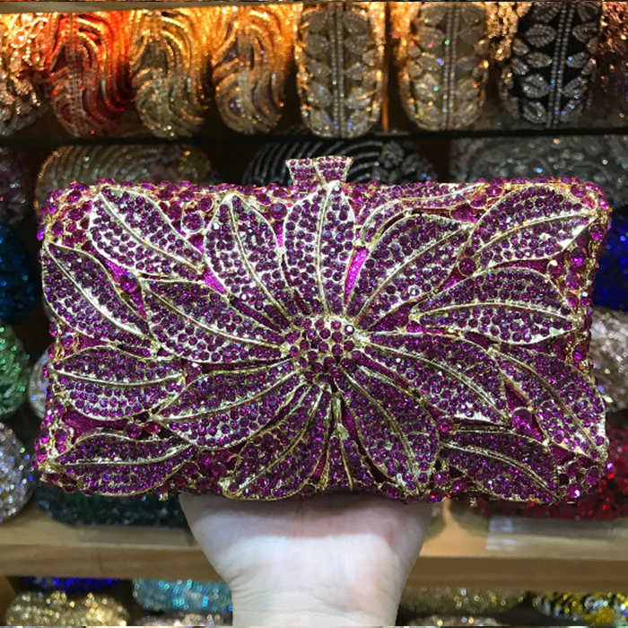 multi colour Long Gold Clutch bags Women Luxury crystal Prom handbags  Ladies Evening Bag Rhinestones pochette Party Purse wallet 3bdfef897981