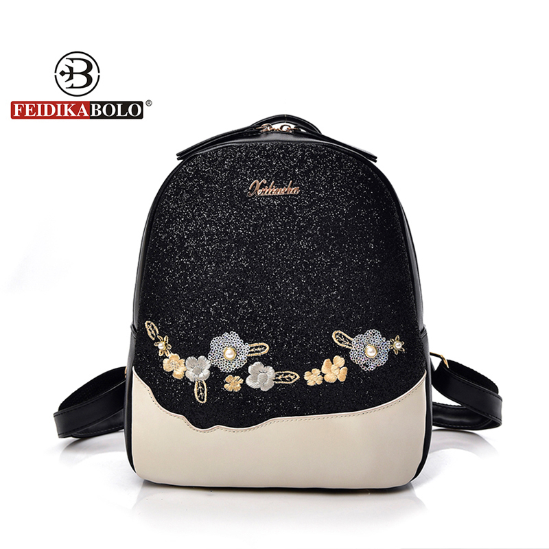 Fashion Floral School Girls Bags Women Backpack Small Black PU Leather Womens Backpacks Famous Brands mochilas Female Back Pack