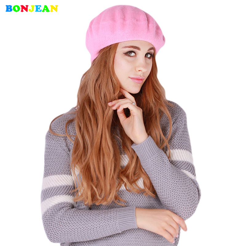 BONJEAN Womens Soft Warm Classic Berets Felt French Artist Hot 2017 Casual Beanies Tam B ...