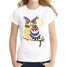 2016 Custom Women White T Shirt Cool Artistic Colorful Owl Printed Casual T-shirt Short Sleeve Novelty Funny Tee