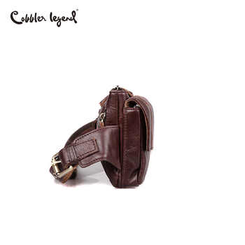 Cobbler Legend Brand Designer Men Waist Bag Genuine Leather Belt Bag Solid Coffee Phone Pouch Quality Fanny Pack Waist Pack