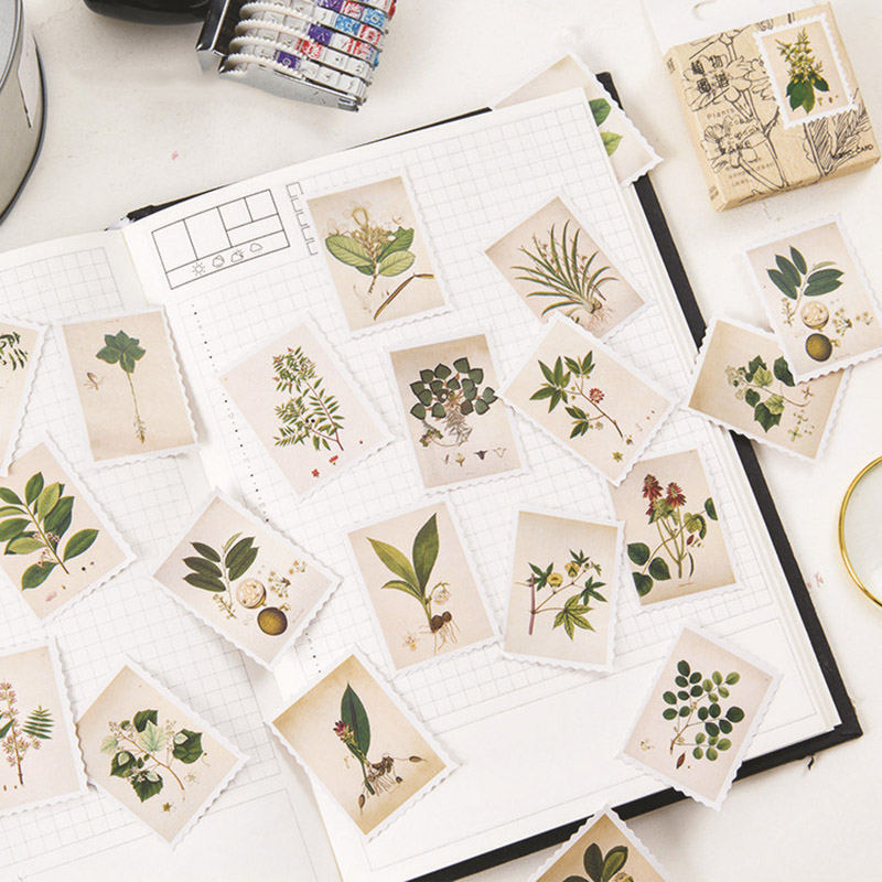 45Pcs/box Cute Plant Stationery Stickers Kawaii Strawberry Flowers  Adhesive Stickers  For Kid DIY Decoration Diary Scrapbooking