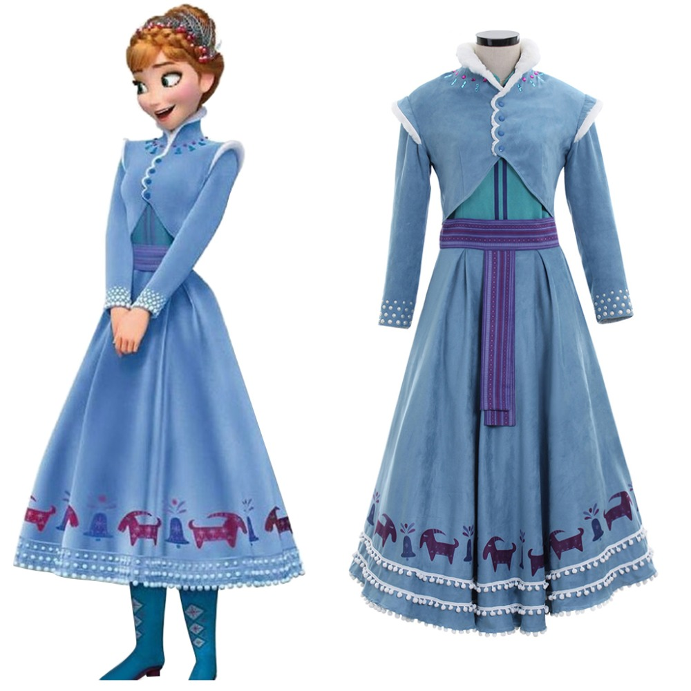 Cosplaydiy Movie Princess Anna Costume Olaf's Adventure 2 Anna Cosplay Dress Women Snowing Winter Costume L320