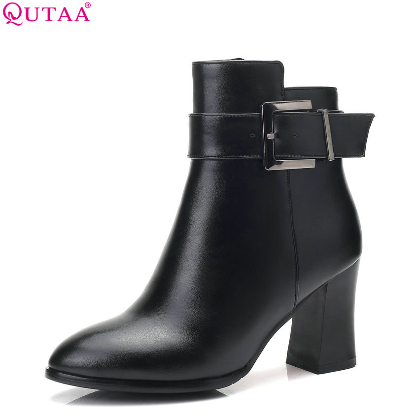 QUTAA 2019 New Fashion Women Ankle Boots Pointed Toe Black Square High Heel Winter Shoes Women Motorcycle Boots Size 34-43 qutaa 2018 black women ankle boots square high heel pointed toe genuine leather fashion zipper women motorcycle boots size 34 42