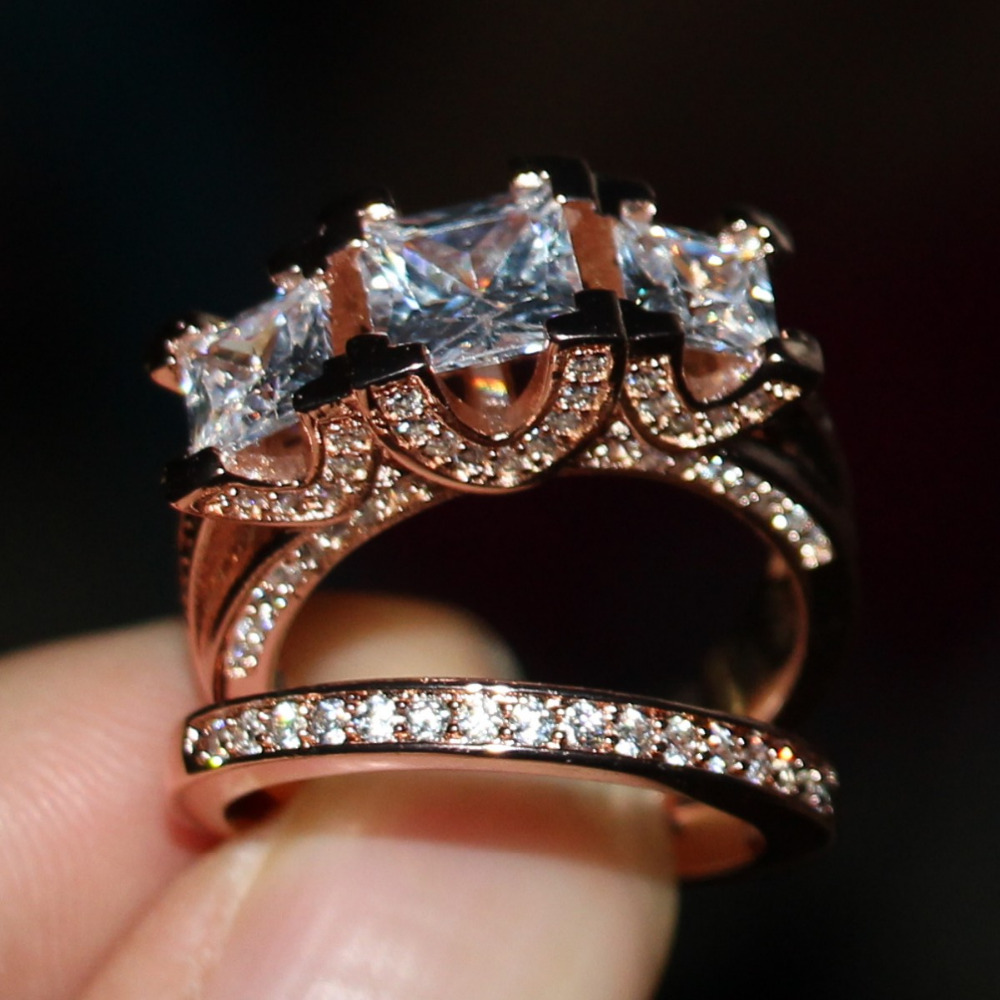 2016 New Hot Jewelry Three Stones Stunning 925 Sterling silver Rose gold CZ stones Wedding Women