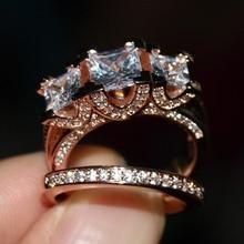 2016 Новый Горячий Ювелирные Изделия Три Камни Потрясающие Стерлингового Серебра 925 & Rose золото CZ камни Свадебные Женщины Свадебные Кольца Подарочный набор Размер 5-11
