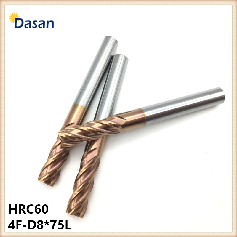 End Mill 8mm HRC60 4F D8*75L Solid Carbide Straight Shank Spiral Flat Endmills CNC Milling Cutter Machining Center Tool