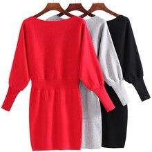 Трикотажные талии Осенние и зимние модели Женская Новый Bat рукава свитер тонкий сплошной цвет Обтягивающая одежда платье