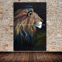 Frameless Paintings Hand Painted Lion Animal Oil Painting On Canvas Modern Wall Art Picture For Living