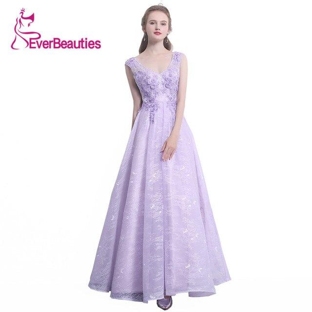 Lilac Lace Floor Length Cocktail Dresses