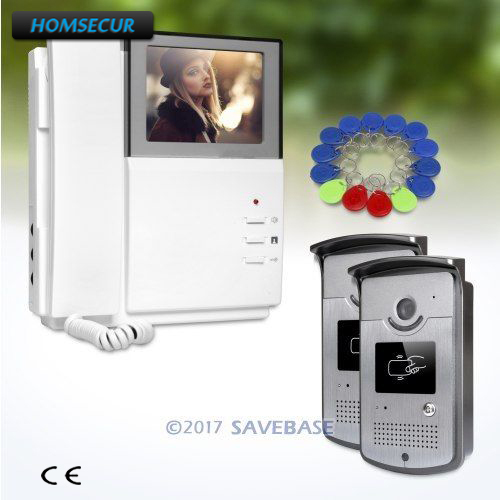2V1 4.3inch HOMSECUR Video Door Entry Security Intercom with Intra-monitor Audio Interaction for Home Security