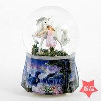 JARLL cristal boîte à musique de boule Hua Xianzi Licorne Fille D'anniversaire Cadeau du Jour de Valentine Rétro neige tourne
