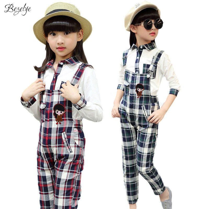 Plaid Girls Clothing Set 2016 Spring Autumn 2pcs/set Cotton Child School Uniform Teenage Girls Clothes Sets Suits for Girls