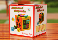 baby wooden multi functional Intelligence box blocks / kids child cartoon assemble block with vehicle animal educational toys