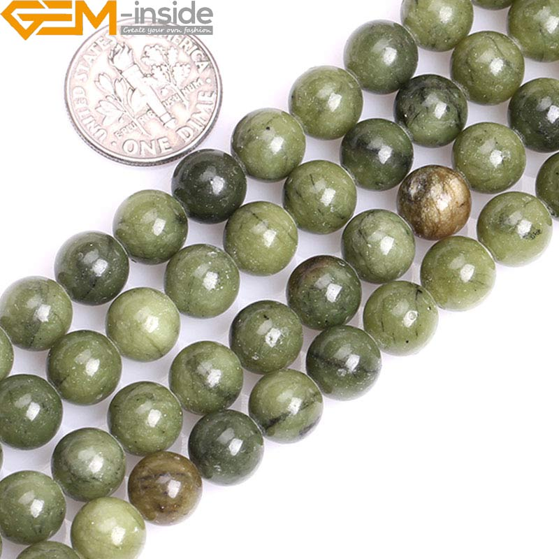 Wholesale Jade Jewelry 8mm 10mm Natural Round Green Canada Jade Stone Gemstone