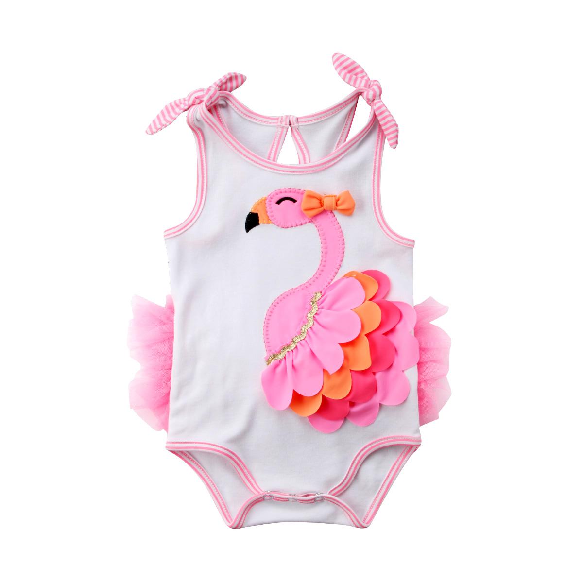 Newborn Baby Girls 3D Flamingo Petal Romper Jumpsuit Outfits Summer Clothes