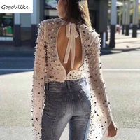 Luxury Blouse Women 2018 Spring Perspective White/black Shirts beadings Chiffon Blouse Sexy Open Back Zipper Tops LT252S50