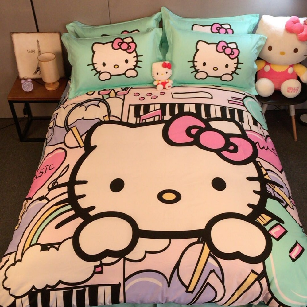 Hello Kitty Queen Bed Set - Hello kitty 3d printed bedding set bedclothes bed sheets duvet covers cotton woven 500tc girls twin queen king size light green