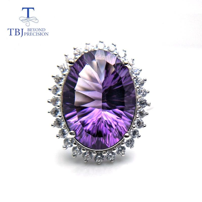 TBJ, большой камень Дианы комплект украшений кулон и кольцо с натуральным аметистом 22ct камень для женщин в 925 серебро с подарочная коробка