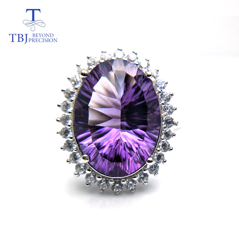 TBJ,Big gemstone Diana's Jewelry set pendant and Ring with natural amethyst 22ct gemstone for women in 925 silver with gift box gifted set 26pcs iron box gift tools in fancy and portable silver tone box