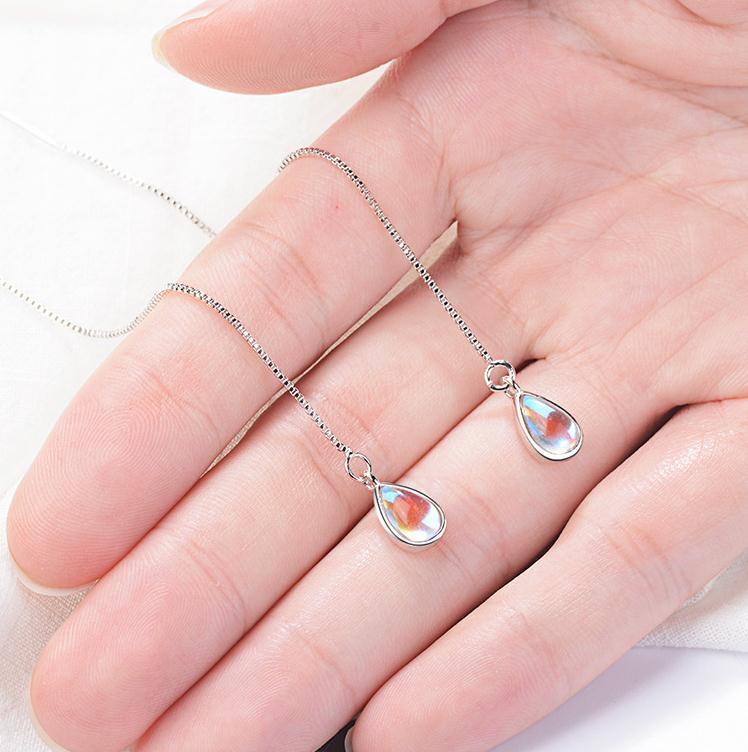 Trendy Water Drop Opal Stone 925 Sterling Silver Female Long Tassel Stud Earrings Wholesale Jewelry For Women Drop Shipping