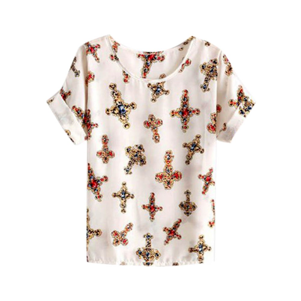 HTB1rh8URXXXXXbTaXXXq6xXFXXXs - T-shirts O Neck Bird Printed Women Top Colorful Short Sleeve
