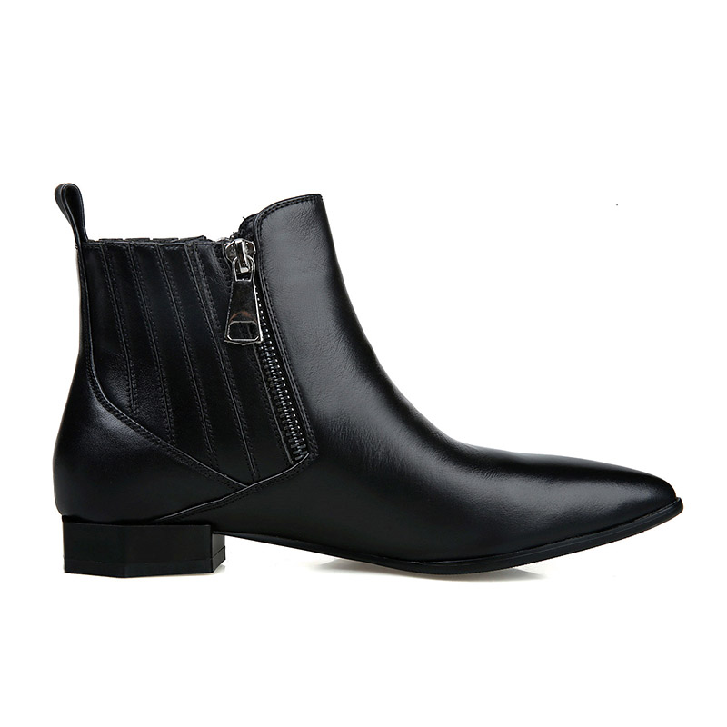 Courte Véritable Épais De Mode Style Pointu Bottes blanc Automne Noir Femmes En Bout Peluche Cheville Cuir Wetkiss Chaussures Dames Étrange XuiZPk