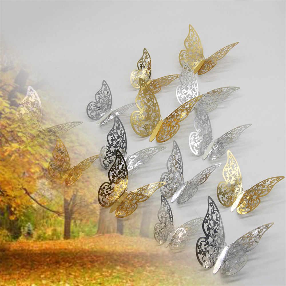 12 قطعة الفضة فراشة أو الذهبي مرآة الديكور غرفة المنزل الفن ثلاثية الأبعاد ملصقات جدار ذاتي الصنع دروبشيبينغ Feb27