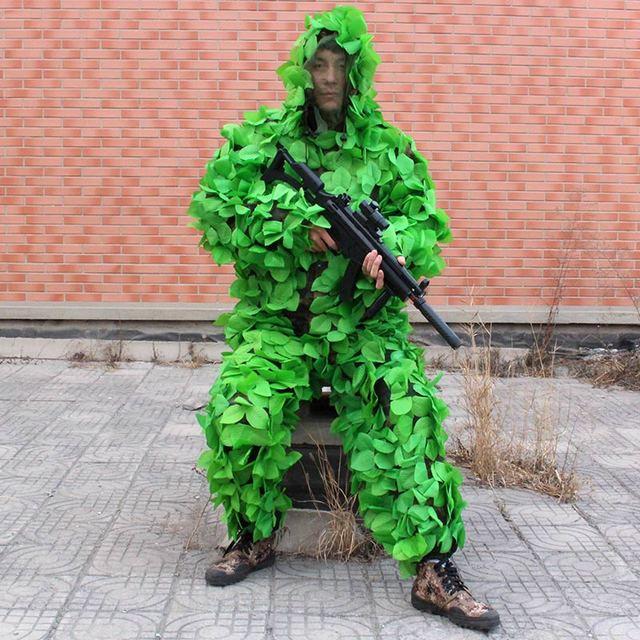Mężczyźni kobiety strój maskujący ghillie na polowanie na zewnątrz CS pozostawia kamuflażowa odzież myśliwska Bionic odzież kamuflująca trening odzież wojskowa tanie i dobre opinie WALLY SKY Unisex Poliester Pasuje prawda na wymiar weź swój normalny rozmiar Hunting Ghillie Suit Green Men and Women