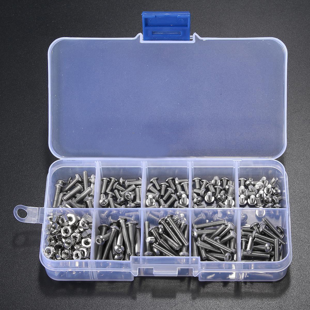 340pcs Stainless Steel M3 A2 Hex Screw Kit Assortment Nuts Bolt Cap Socket Set 125x65x22mm with Case berserk 5 ps lot 304 stainless steel m12 120 cap nuts bracelet hex set screw