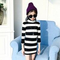 High Neck Knitted Sweater Dress Girl Kid Autumn Spring Long Sleeve White Black Striped Knitting Girl