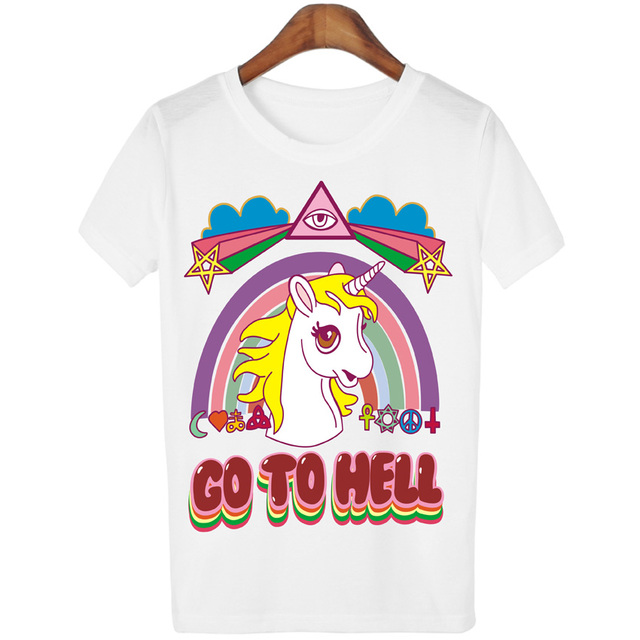 e80d3b9b389e0e t shirts cartoon unicorn print GO TO HELL kawaii funny white t-shirt women  plus size lady summer t-shirt Female Unicorn shirt