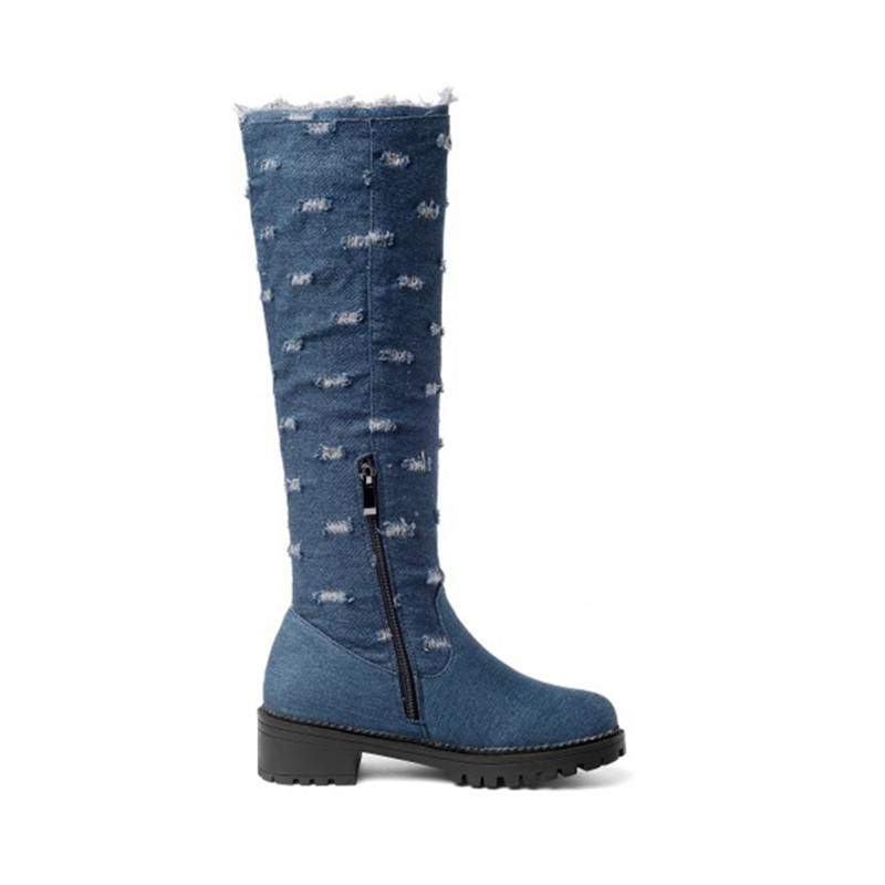 e8ed436880fb ASILETO Plus Size 44 Jeans denim Boots women knee high boots shoes Woman  Warm winter long Boots Female Shoes cowboy boot S885-in Knee-High Boots  from Shoes ...