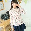 2015 Blouses Women Slim long sleeve shirt flower print shirt