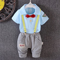 2016 Summer New Childern Boys Clothes Suit Baby Boys Solid Color Denim Overalls Suit Kids Cartoon Clothing Set