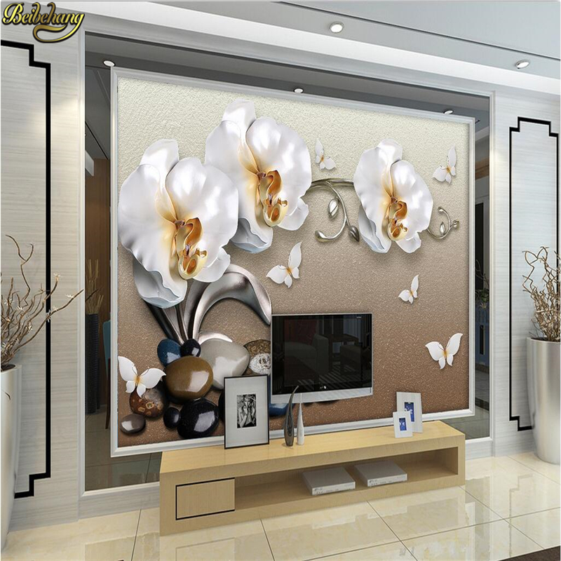 beibehang Custom photo wallpaper 3D large mural wall stickers 3d luxury gold jewelry moth orchid TV wall papel de parede custom photo wallpaper large mural wall stickers 3d stereo digital english living room tv wall papel de parede