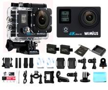 Wimius q4 wi-fi 4 k ultra hd câmera de vídeo de ação dupla tela 16MP 170D Super-Wide Angle Sports Helmet Cam Ir À Prova D' Água 40 M Pro
